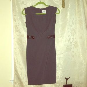 Grey Eci Dress with Leather Accents
